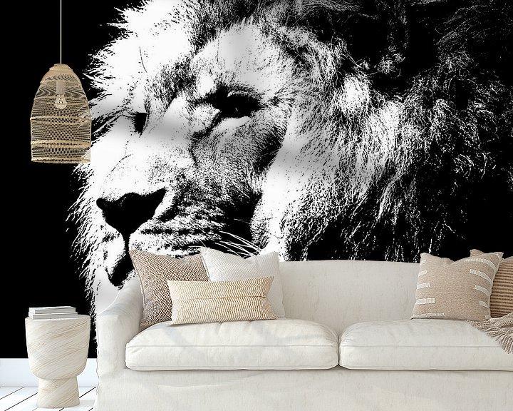 Beispiel fototapete: Lion - black and white von PictureWork - Digital artist