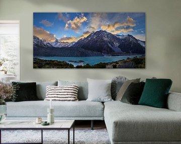 Zonsopgang over Mueller Lake en Mount Cook van Keith Wilson Photography