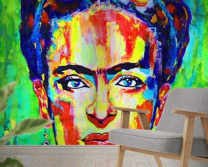 Beispiel fototapete: Frida Kahlo - Gelb Grün von Kathleen Artist Fine Art