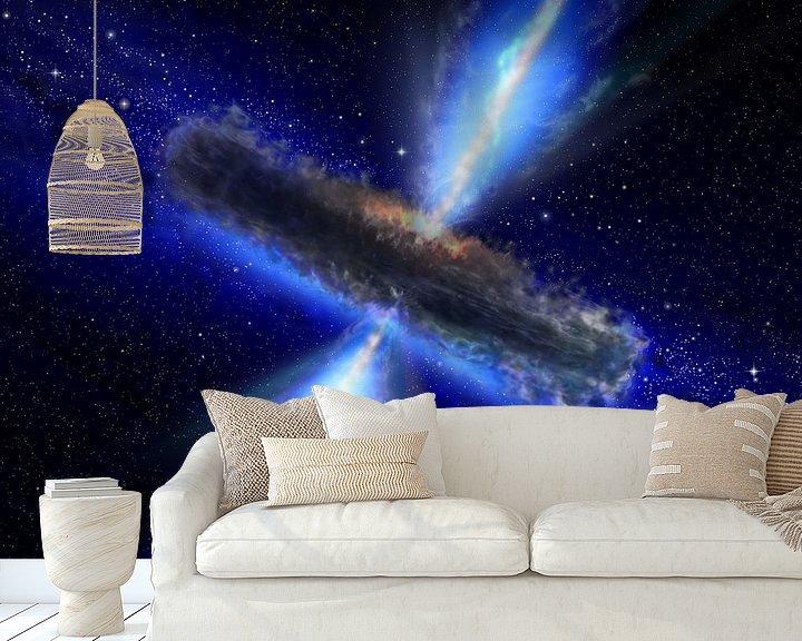 Sfeerimpressie behang: This artist's impression shows the dust torus around a super-massive black hole. Black holes lurk at van Brian Morgan