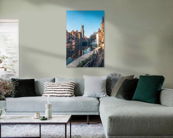 Beispiel: Blick auf den Belfried in Brügge mit Spiegelung in Dijver von Daan Duvillier