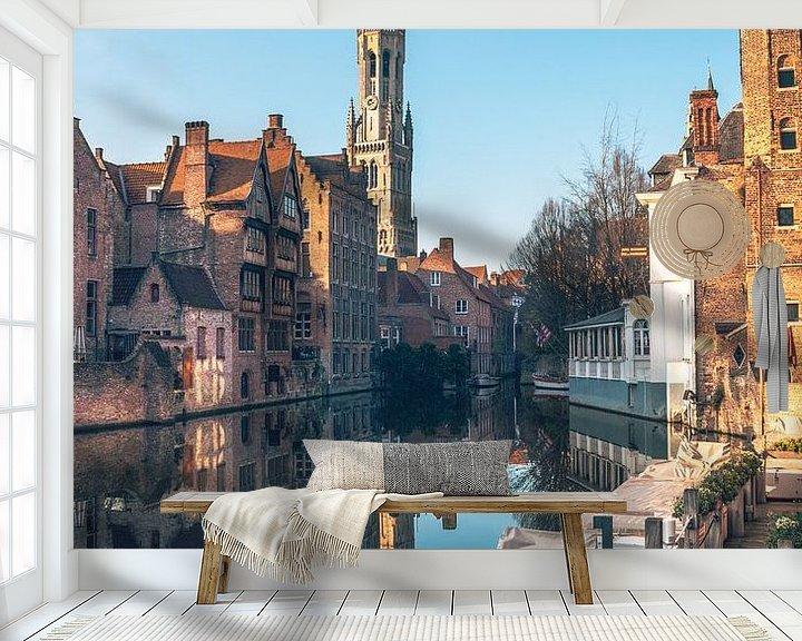 Beispiel fototapete: Blick auf den Belfried in Brügge mit Spiegelung in Dijver von Daan Duvillier