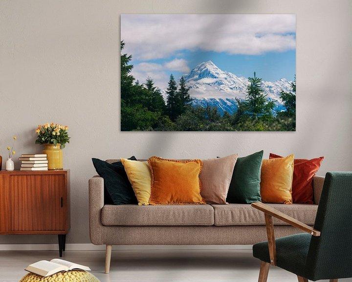 Sfeerimpressie: De bergtop van Mount Cook in Nieuw-Zeeland van Linda Schouw