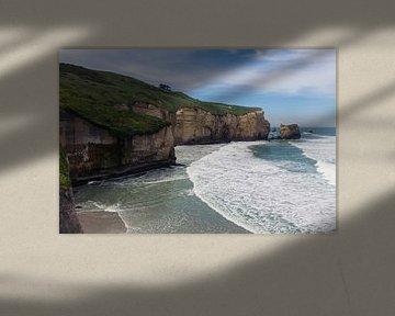 Tunnelbeach in Nieuw-Zeeland van Linda Schouw