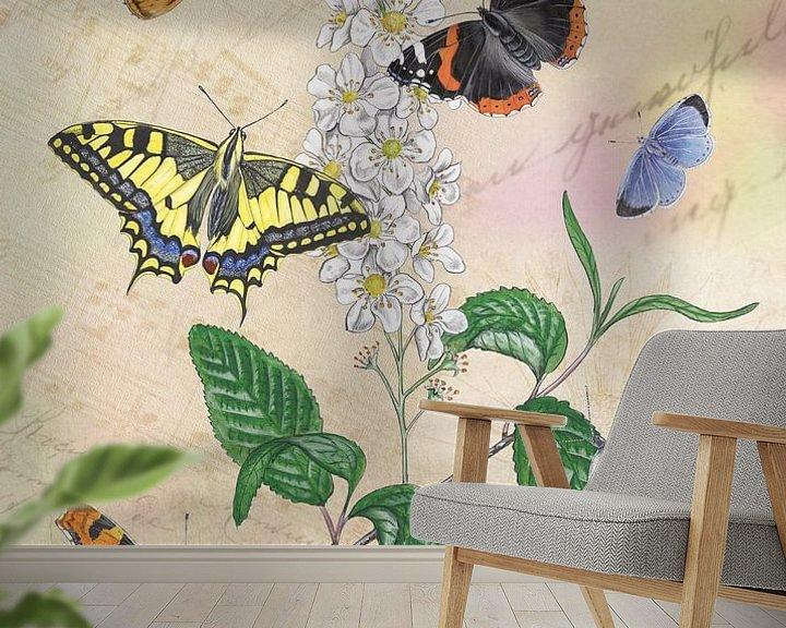 Sfeerimpressie behang: Gewone vogelkers met haar vlinders. van Jasper de Ruiter