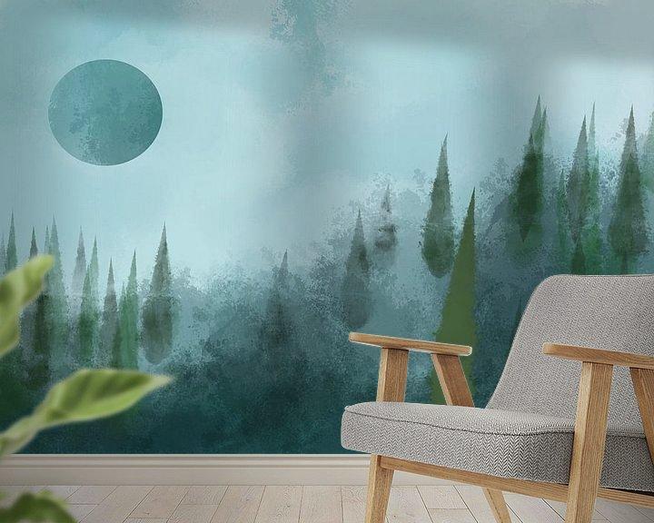 Beispiel fototapete: Wald bei Vollmond von Patricia Piotrak