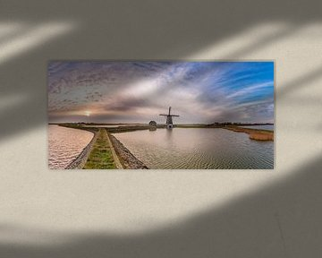 Molen het Noorden Texel zonsondergang panorama van Texel360Fotografie Richard Heerschap