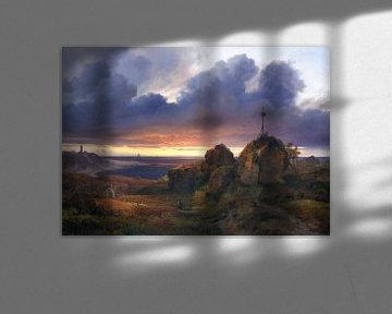 Abendliche Sicht auf den Kattegat bei Kullen, LOUIS GURLITT, 1838 von Atelier Liesjes