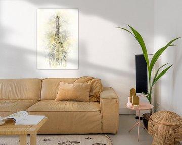 Moderne Kunst EIFFELTURM | Illuminating Yellow & Ultimate Grey von Melanie Viola