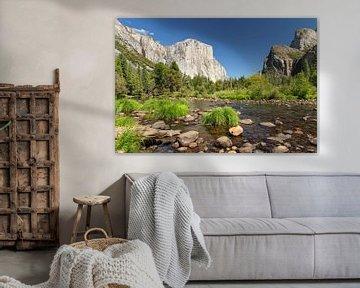 El Capitan en Merced River in Yosemite Valley, Yosemite National Park, Californië, VS. van Markus Lange