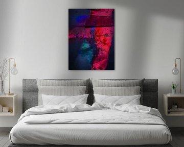 Modernes, abstraktes digitales Kunstwerk in Blau-Rot von Art By Dominic