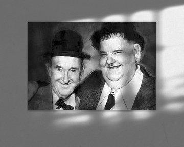 Olieverf portret van Laurel & Hardy van Bert Hooijer