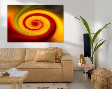Abstractheid met geel, groen en rode lijnen van JM de Jong-Jansen