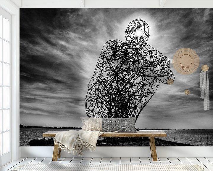 Sfeerimpressie behang: Sitting Man Lelystad van Brian Morgan