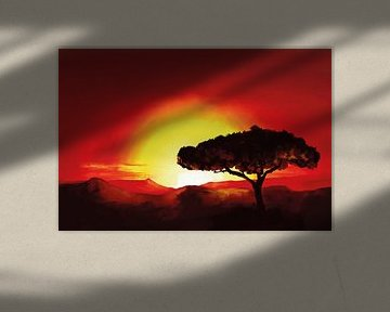Zonsondergang met een typisch Afrikaanse boom