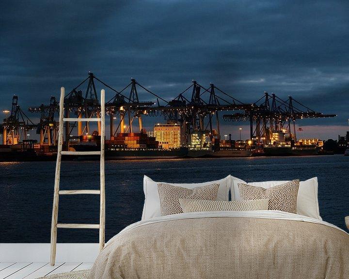 Beispiel fototapete: Hamburger Hafen bei Nacht von Borg Enders