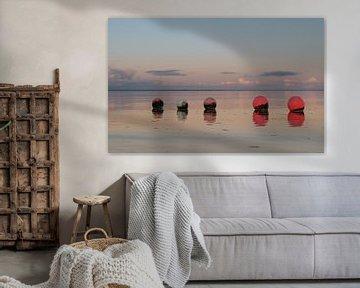 Kleurrijke boeien op het strand van Michel Knikker