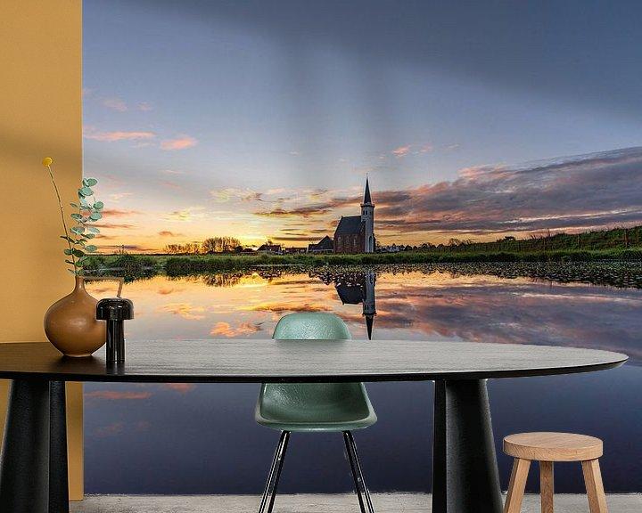 Sfeerimpressie behang: Texel Den Hoorn zonsondergang spiegel effect door kolk van Texel360Fotografie Richard Heerschap