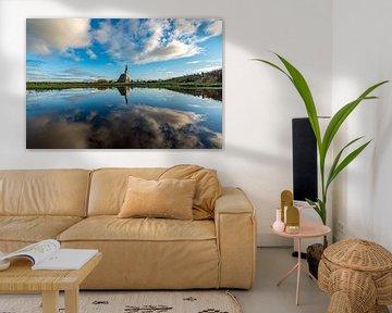 Texel Den Hoorn spiegel effect door waterplas op weiland van Texel360Fotografie Richard Heerschap