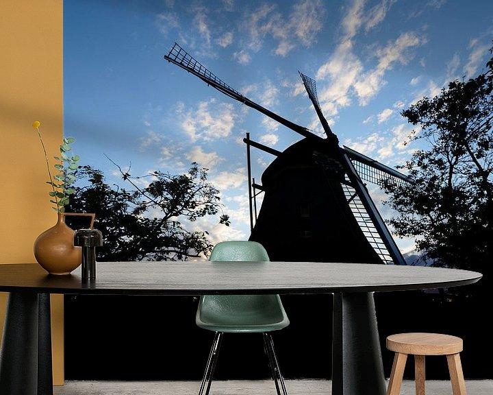 Impression: silhouette d'un moulin sur Michel Knikker