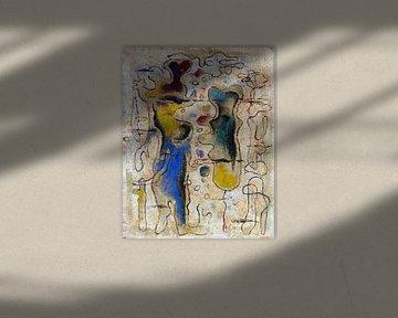 Zwei Körperformen auf Lackgrund, WILLI BAUMEISTER, 1940