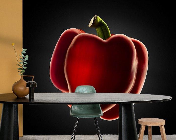 Sfeerimpressie behang: Food-Rode paprika op zwarte achtergrond van Everards Photography