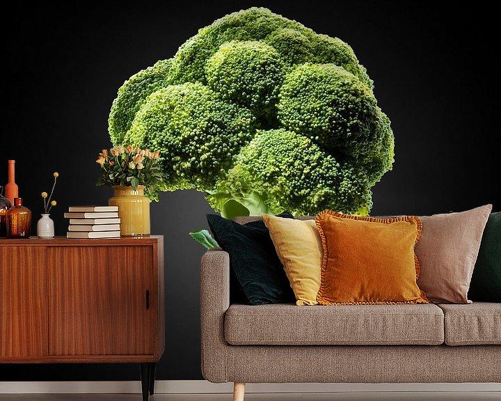 Sfeerimpressie behang: Food-Broccoli op zwarte achtergrond van Everards Photography
