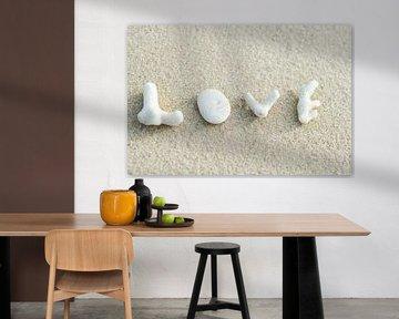 LP 70505953 Koraal stukken die het woord liefde op het strand spellen van BeeldigBeeld Food & Lifestyle