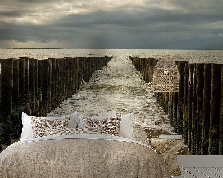 Beispiel fototapete: Wellenbrecher im Meer von Helene van Rijn