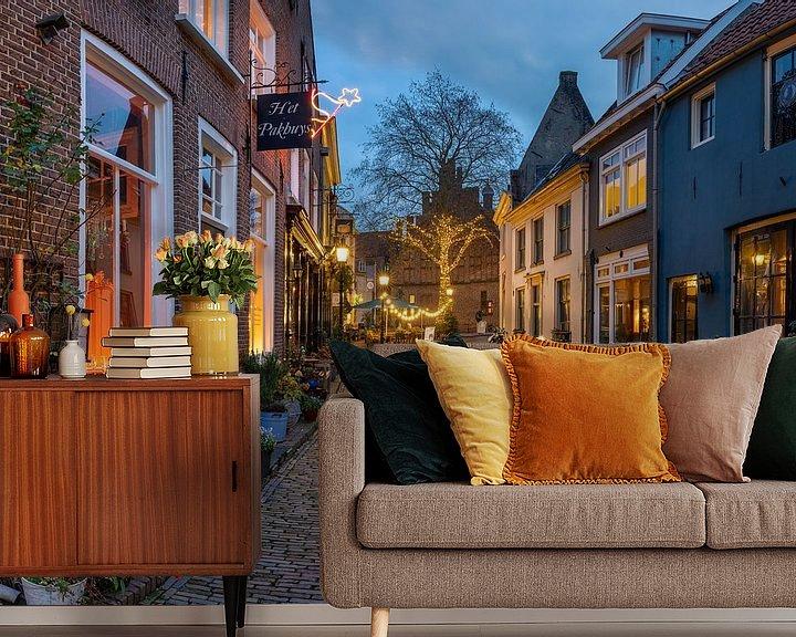 Sfeerimpressie behang: Avondfoto historische stad Doesburg van Jeroen Kleiberg