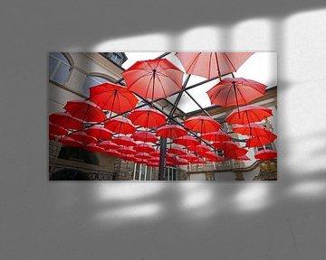 Un toit de parapluies à l'entrée du Musée régional de Maribor en Slovénie.