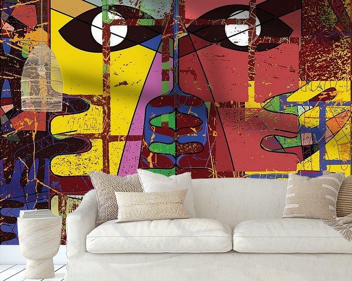 Sfeerimpressie behang: moderne geometrische abstracte oogkunst van EL QOCH