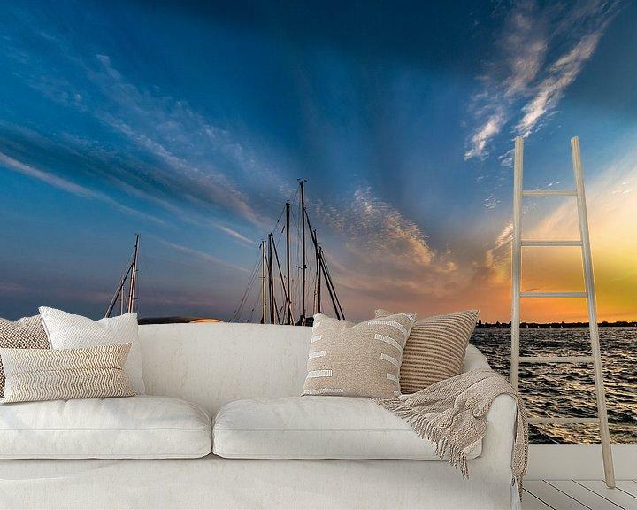 Beispiel fototapete: Sonnenuntergang am Hafen Altefähr, Insel Rügen von GH Foto & Artdesign