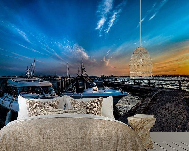 Beispiel fototapete: Motorboote & Segelschiffe, Sonnenuntergang am Hafen Altefähr, Insel Rügen von GH Foto & Artdesign