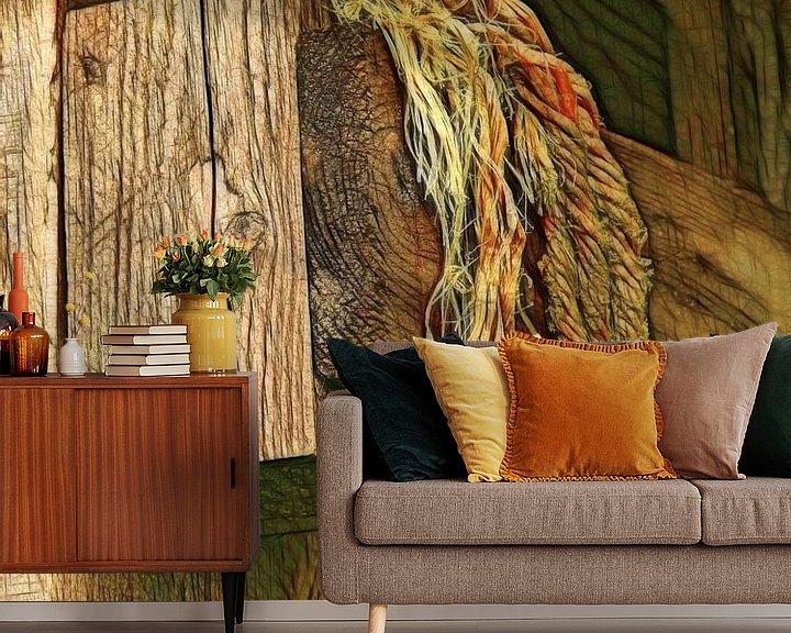Sfeerimpressie behang: Hout-Vast van Caroline Lichthart