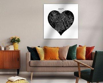 Delft in einem schwarzen Herz | Stadtplan als Wandkreis von Wereldkaarten.Shop