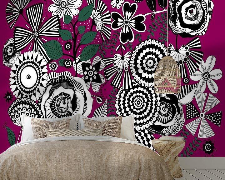 Beispiel fototapete: Blumen Muster in schwarz weiß von Patricia Piotrak