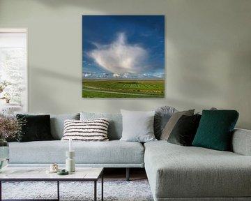 Verwaaiende wolk boven een dobbe in het Noorderleeg van Harrie Muis