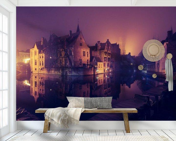 Beispiel fototapete: Der Rozenhoedkaai bei Nacht: Der berühmteste Platz von Brügge von Daan Duvillier