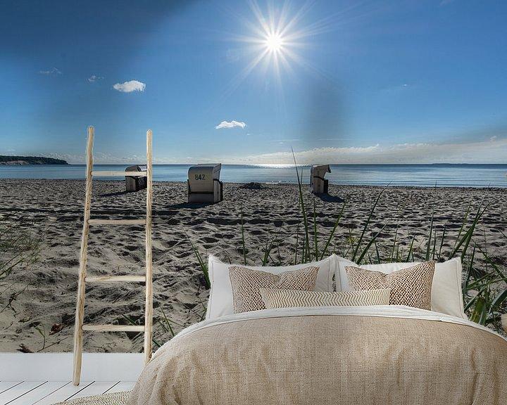 Beispiel fototapete: Strandkörbe im Sonnenlicht, Naturstrand Lobbe von GH Foto & Artdesign