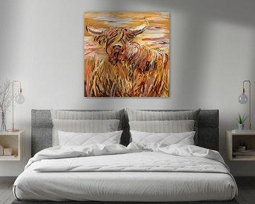 Impressionistisch werk - zomerse schotse hooglander van Emiel de Lange