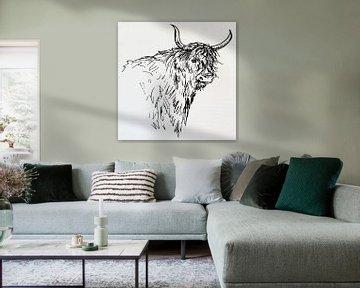 Strichzeichnung einer Kuh von Emiel de Lange