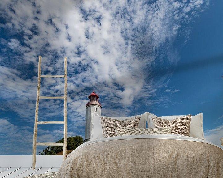 Beispiel fototapete: Schäfchenwolken über dem Leuchtturm auf der Insel Hiddensee von GH Foto & Artdesign