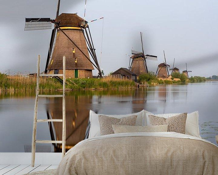 Sfeerimpressie behang: Windmolens in Kinderdijk van Jeroen Kleiberg