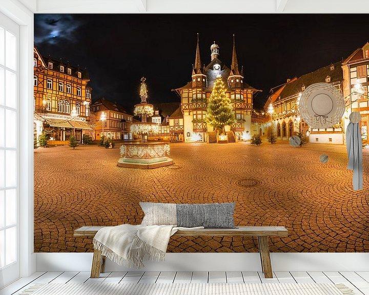 Beispiel fototapete: Panorama Wernigerode Weihnachtsmarkt von Oliver Henze