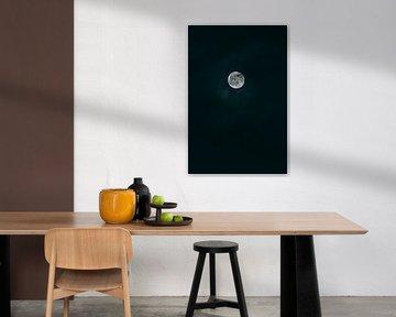 Volle maan aan de donkere hemel van Robin van Steen
