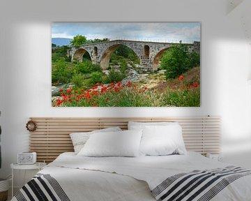 Stenen Romeinse boogbrug Pont Julien over de rivier de Calavon in de omgeving van Apt (Frankrijk) me van Gert Bunt
