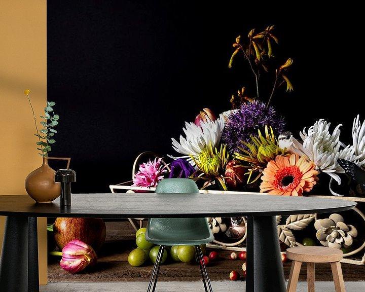 Sfeerimpressie behang: Bloemen en fruit van Anita Visschers