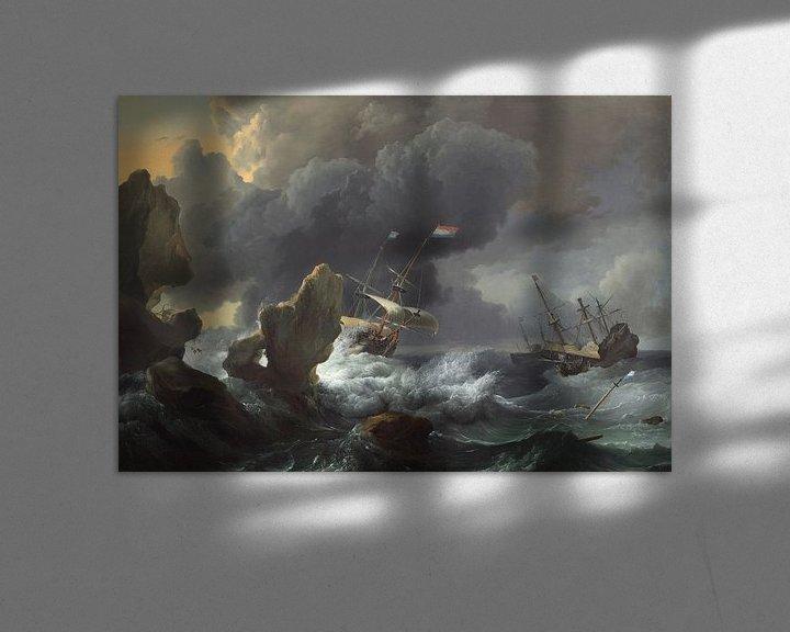 Impression: Navires en détresse au large d'une côte rocheuse, Ludolf Bakhuizen