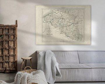 Belgien, Karte, 19. Jahrhundert von Atelier Liesjes